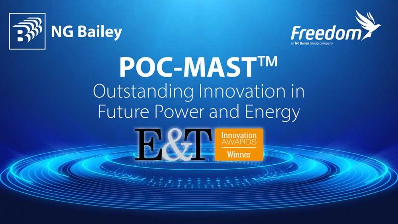 We've won the award for Outstanding Innovation in Future Power and Energy at the Engineering and Technology Innovation Awards for our POC-MAST product.